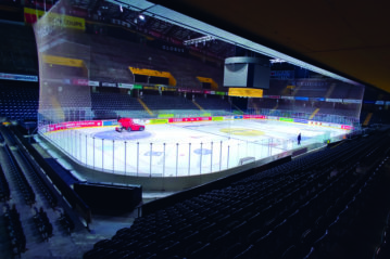Ice resurfacing machine in the Postfinance Arena, Bern (Swiss).