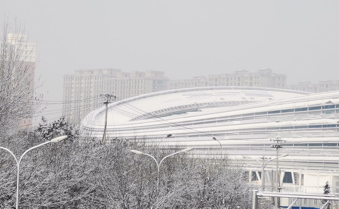 L'Oval sotto la neve nel dicembre scorso (Contributed by Beijing National Speed Skating Oval Operation Co., Ltd).