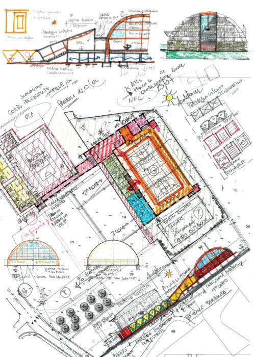 bozze di progetto a firma dell'architetto Pettene