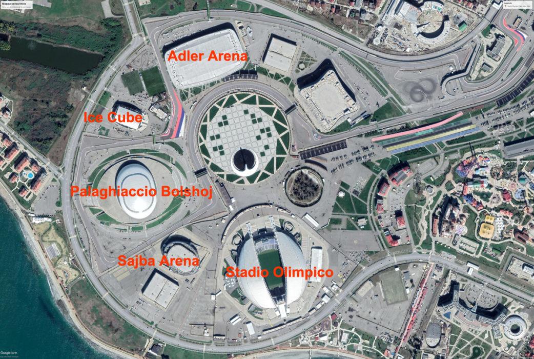 Il cluster olimpico di Sochi (immagine Google Earth).