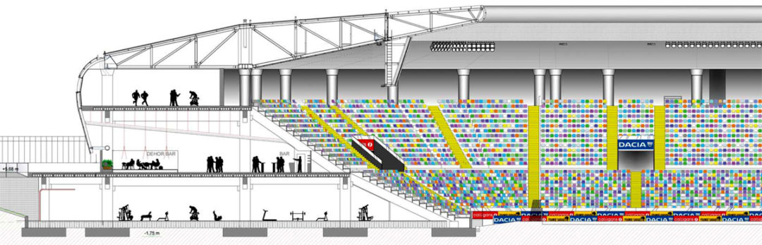 Sezione delle tribune con gli spazi sottostanti.